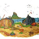 Holy Island boat sheds by Woodie