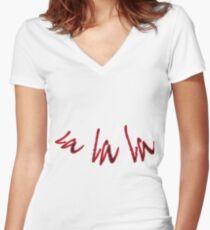 la la la .. fun text design, musical, dancing, fun, cute, easy going Women's Fitted V-Neck T-Shirt