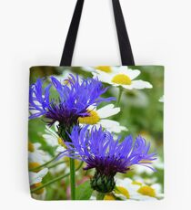 Passion Amongst The Daisies - Bachelor's Button - Southland NZ Tote Bag