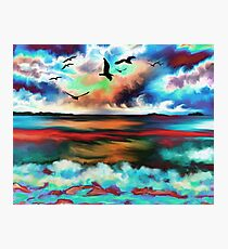 Abstract Oil Paint Seascape Photographic Print