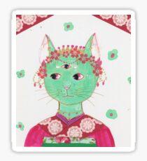 Little Kitty in a Kimono - Green Sticker