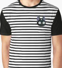Kiki's Delivery Service Jiji-Studio Ghibli-Striped Graphic T-Shirt