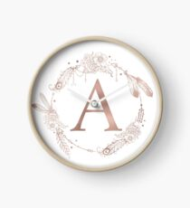 Letter A Rose Gold Pink Initial Monogram Clock