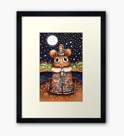 Little Bright Eyes the Radiant Christmas Mouse Framed Print