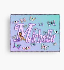 Butterflies Name Art - Michelle Canvas Print