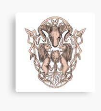 Bighorn Sheep Lion Tree Coat of Arms Celtic Knotwork Tattoo Canvas Print