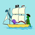 Dinosaur pirates sail the seven seas by Andrea England