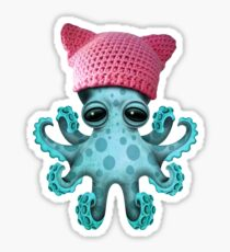 Cute Blue Baby Octopus Wearing Pussy Hat Sticker