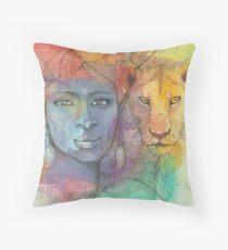 Lion Goddess Throw Pillow
