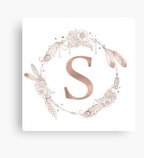 Letter S Rose Gold Pink Initial Monogram Canvas Print