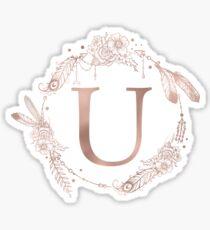 Letter U Rose Gold Pink Initial Monogram Sticker