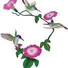 Three Humming Birds and Hibiscus  by Walter Colvin