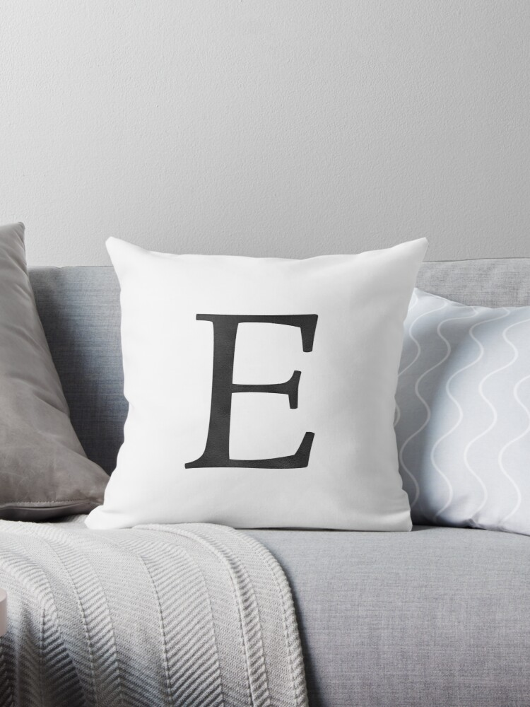 'Letter E Initial Monogram Black and White' Throw Pillow by naturemagick