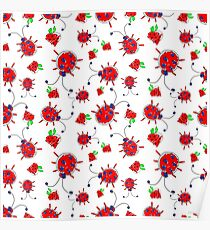 Seamless pattern with childish ladybugs and strawberries Poster