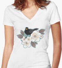 Waiting for the cherries I Women's Fitted V-Neck T-Shirt