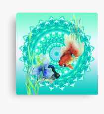 Cute Watercolor Guppy Fishes Mandala turquoise Canvas Print