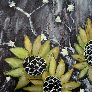 Flowers in black background original acrylic painting by lilypang