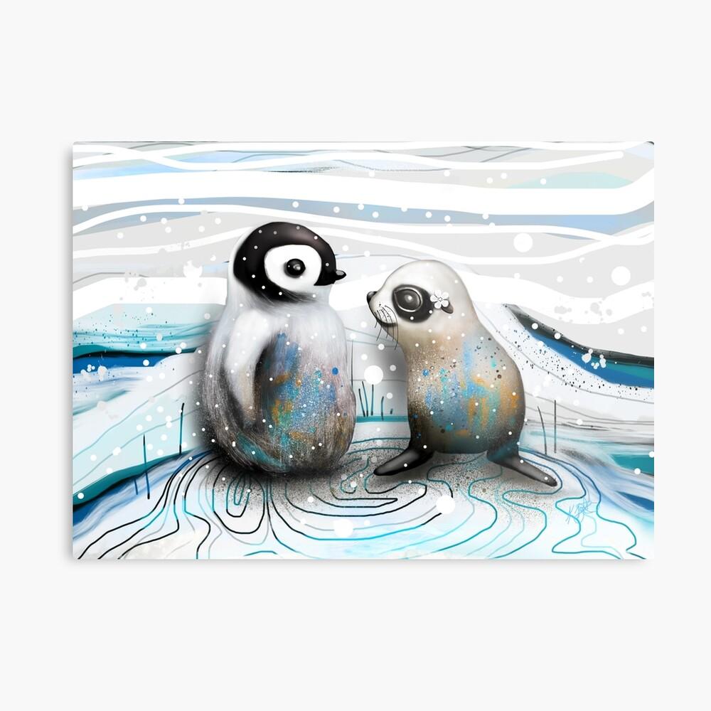 Pinguin-Küken und Baby-Dichtung Metallbild