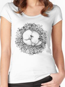 Fox Sleeping in Flowers Women's Fitted Scoop T-Shirt