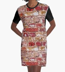 Wall Of Old Red Brick Graphic T-Shirt Dress