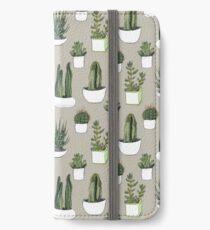 Watercolour Cacti & Succulents - Beige iPhone Wallet/Case/Skin