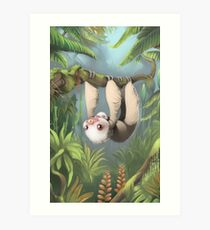 Sloth with Baby Art Print