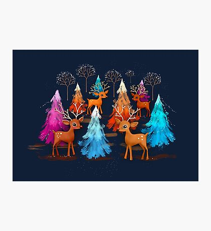 Happy Christmas Trees Photographic Print