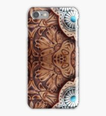 turquoise brown cowboy tribal Western country Tooled Leather iPhone Case/Skin