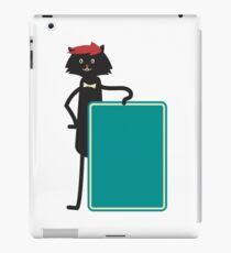 Funny black cartoon cat iPad Case/Skin