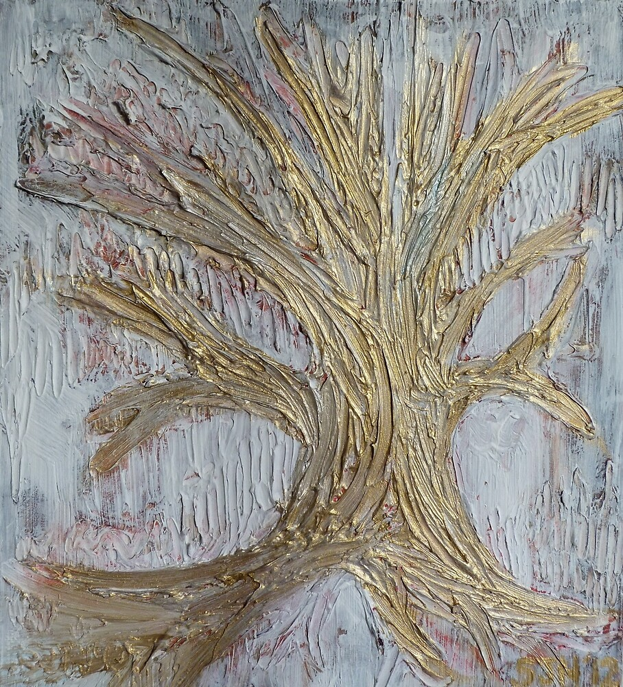 Tree in gold by Sarah Hamshere