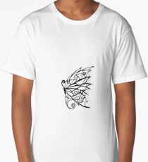 Black and White Abstract Butterfly Long T-Shirt