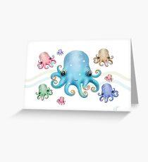 Rainbow Octopus Greeting Card