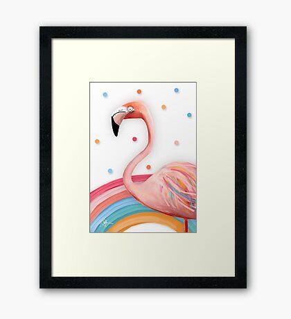 Pink Rainbow Flamingo Framed Print