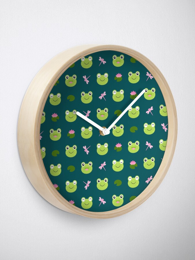 Alternate view of Cute Frog Faces on Teal Clock