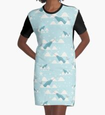 swimming narwhal blue Graphic T-Shirt Dress