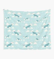 swimming narwhal blue Wall Tapestry