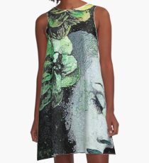 Obey Me (flower girl portrait, spray paint graffiti painting) A-Line Dress