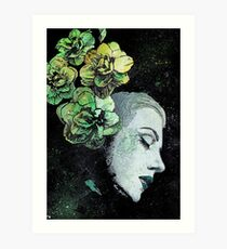 Obey Me (flower girl portrait, spray paint graffiti painting) Art Print