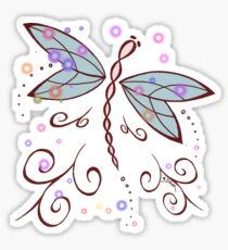 Dragonfly and Lightning Bugs  Sticker