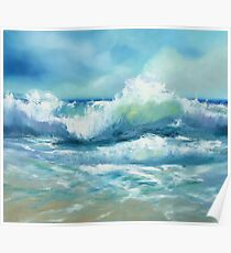 Original Oil Painting Sea Waves Poster