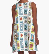 Mexikanischer Tarot - Loteria A-Linien Kleid