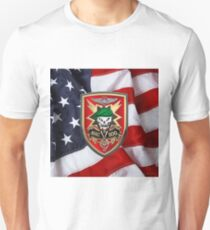Military Assistance Command, Vietnam - Studies and Observations Group - MACV-SOG Patch over U.S. Flag Unisex T-Shirt