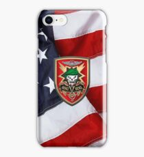 Military Assistance Command, Vietnam - Studies and Observations Group - MACV-SOG Patch over U.S. Flag iPhone Case/Skin