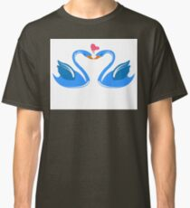 Two cartoon swans in love Classic T-Shirt