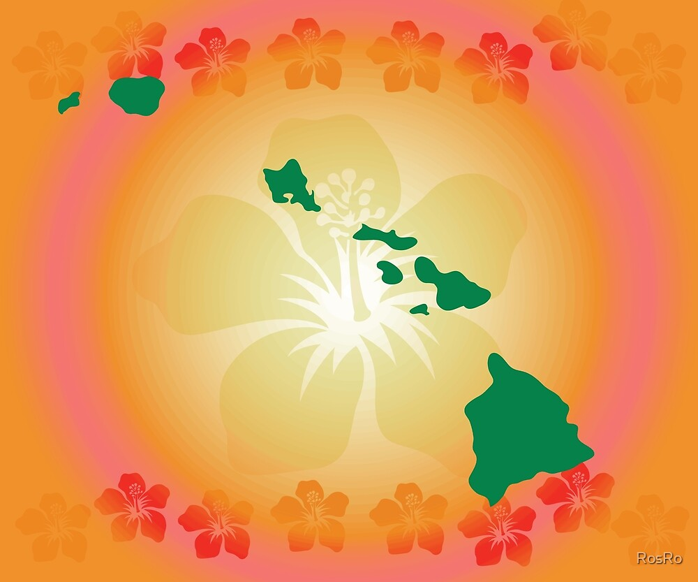 Hawaiian islands and hibiscus flowers by rosro redbubble hawaiian islands and hibiscus flowers izmirmasajfo