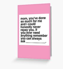 Sarcastic Mother's Day Card Greeting Card