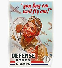 WW2 Pilot Defense Bonds & Stamps Propaganda Poster