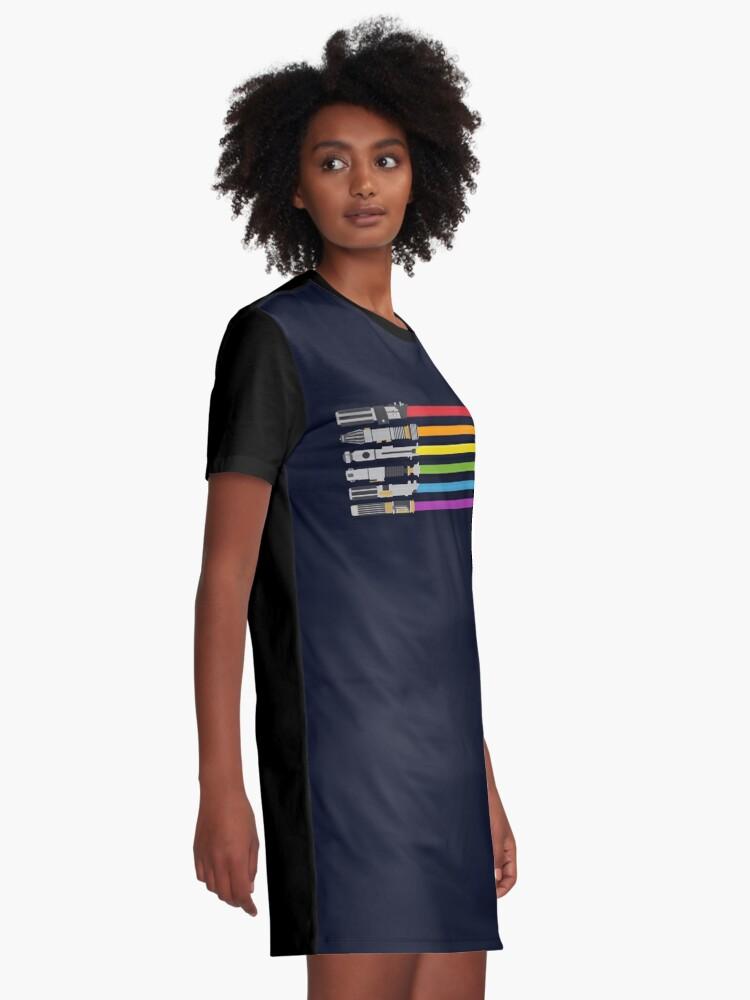 Alternate view of Lightsaber Rainbow Graphic T-Shirt Dress