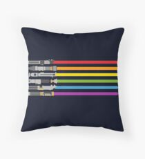 Lightsaber Rainbow Throw Pillow