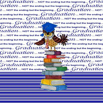 Owl Wearing Tie and Grad Cap on Top of Books, Grad Words, Blue by toots